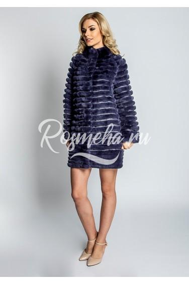 Короткое женское пальто из рекса (39-80521)