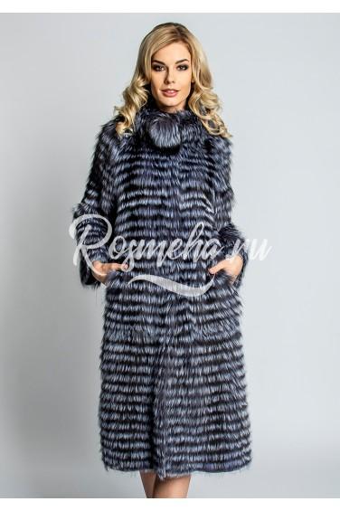 Длинное пальто из чернобурки (49-110521)