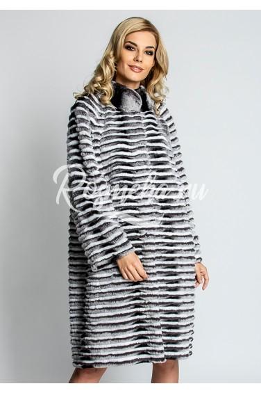 Длинное женское пальто из кролика (60-100521)