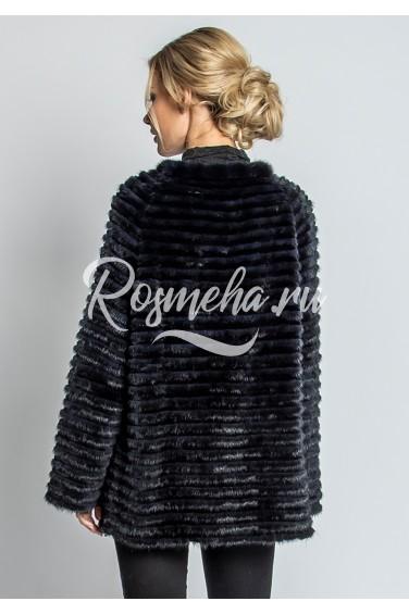 Короткое пальто из норки графит (69-70521)