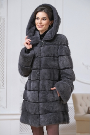 Куртка из норки графит (75-80223)