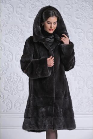 Норковая шуба москвичка уголь (09-100223Н)