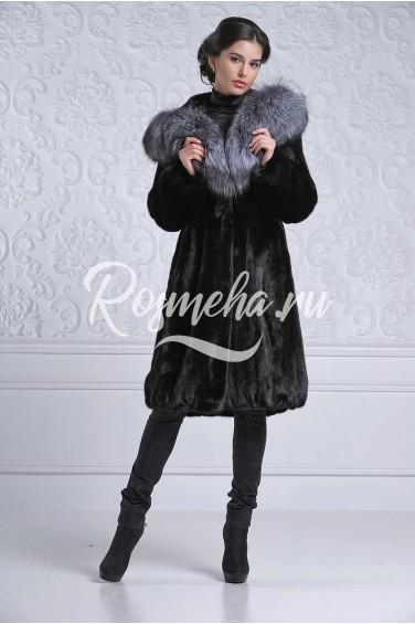 Черная норковая шуба капюшон чернобурка (2304-95511Н)