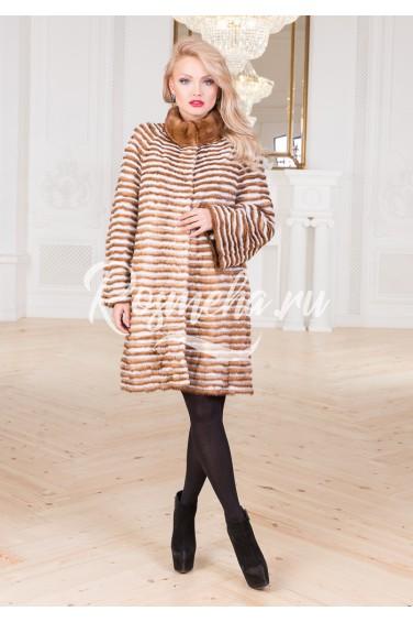 Женское меховое пальто из норки (21-90216Н)