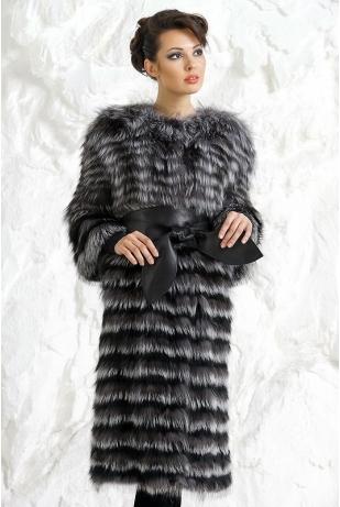 Меховое пальто из меха чернобурки 3/4 рукав (2217-1)