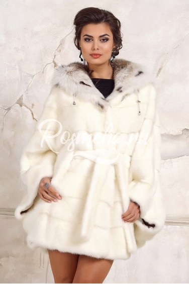Белая норковая шуба летучая мышь капюшон рысь (12094-011Н)