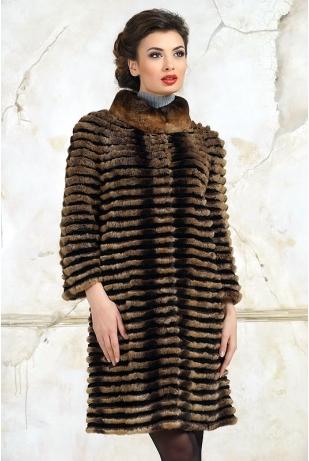 Модное пальто из кролика рекс (002-216)