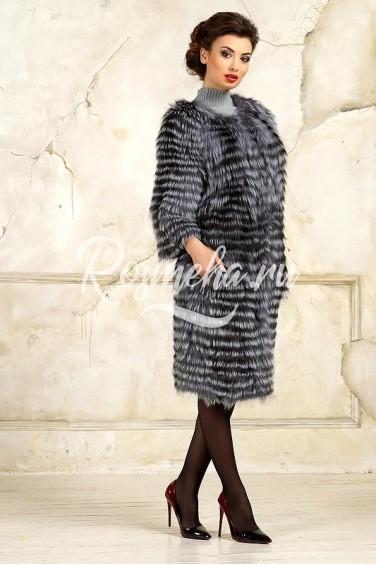 Пальто из чернобурки большой размер (K3017)