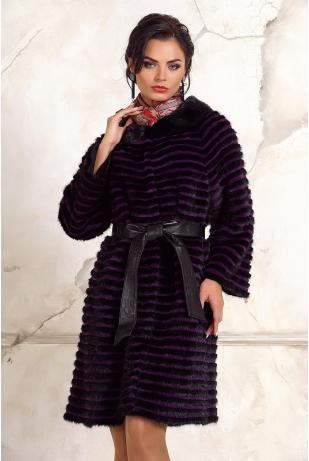 Норковое пальто нарезка шанэль (15008А1-216Н)