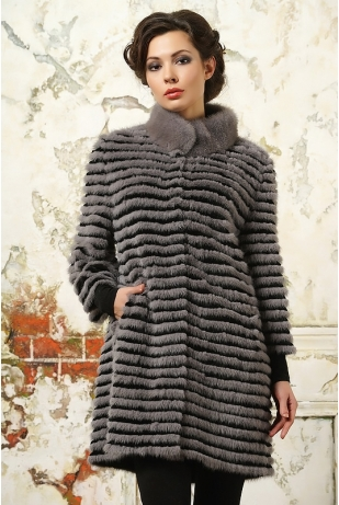 Пальто из серой норки стойка (1318-217Н)
