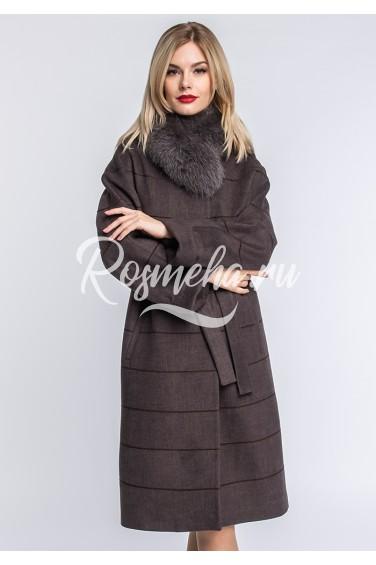 Пальто шерстяное гавана воротник песец (122-10010)