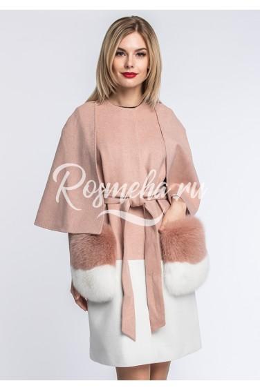 Розовое пальто из шерсти карманы песец (148-8010)